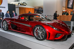 A Koenigsegg Regera at the 2016 New York International Auto Show during Press day Royalty Free Stock Photos