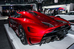A Koenigsegg Regera at the 2016 New York International Auto Show during Press day. NEW YORK - March 23: A Koenigsegg Regera at the 2016 New York International Stock Photography