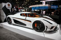 Koenigsegg RogereaSpeed car. NEW YORK CITY-MARCH 28: Koenigsegg Rogerea shown at the New York International Auto Show 2018, at the Jacob Javits Center. This was Royalty Free Stock Photo