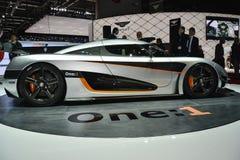 Koenigsegg uno: 1 al salone dell'automobile di Ginevra Immagine Stock Libera da Diritti