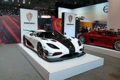 Koenigsegg uno all'esposizione automatica dell'internazionale di New York jpg Fotografia Stock