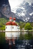 Koenigssee. Taken at koenigssee, Bavaria, Germany. The famous St. Bartholomä church Royalty Free Stock Photography