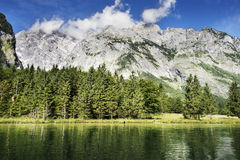Koenigssee and Watzmann. View to Koenigssee and mountain Watzmann in Germany Royalty Free Stock Photo