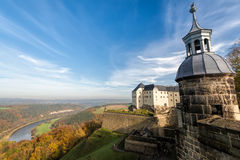 Koenigstein Fortress, Germany. Fortress koenigstein in Saxony, Germany the Saxon Bastille, is a hilltop fortress near Dresden, in Saxon Switzerland, Germany royalty free stock images
