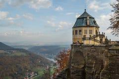 Koenigstein Konigstein fästning, Sachsen Arkivfoto