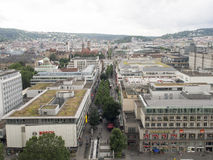 Koenigstrasse shopping street, Stuttgart. Koenigstrasse shopping street seen from the railway station tower. Stuttgart is the capital and largest city of the Royalty Free Stock Image