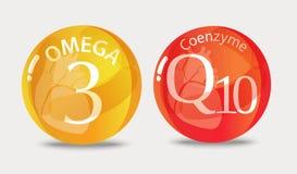 Koenzym q10 i omega 3 royalty ilustracja