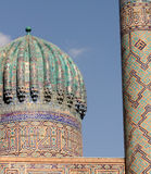 Koepel. Tilla-Kori Madrasah, Samarkand Royalty-vrije Stock Foto