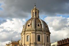 Koepel van de Kerk van de Heiligste Naam van Mary bij het Trajan-Forum Stock Afbeelding