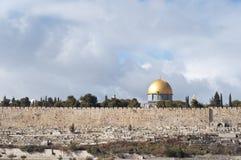 Koepel van de Rots en de Oude muur van Jeruzalem Stock Fotografie