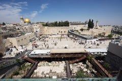 Koepel van de Rots en de Westelijke Muur in Jeruzalem Royalty-vrije Stock Foto