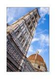Koepel van de torenklok van Brunelleschi en van Giotto ` s in Florence, Ital stock afbeeldingen