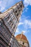 Koepel van de torenklok van Brunelleschi en van Giotto ` s in Florence, Ital royalty-vrije stock foto's
