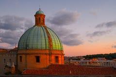 Koepel van de zonsondergang Ancona Italië van de Kathedraal Stock Foto