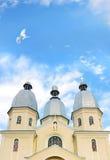 Koepel van een kerk met duif het vliegen Royalty-vrije Stock Foto