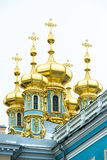 Koepels Catherine Palace, St. Petersburg Stock Foto