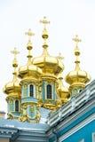 Koepels Catherine Palace, St. Petersburg Stock Foto