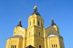 Koepels van Alexander Nevsky Cathedral in Nizhny Novgorod royalty-vrije stock foto's