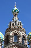 Koepels van de Kerk van de Verlosser op Gemorst Bloed in Heilige Petersburg Royalty-vrije Stock Afbeelding