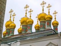 Koepels van de Kremlins-Kerken en de Kathedralen, Moskou, Rusland stock fotografie