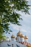 Koepels van een godsdienstig gebouw Kathedraal met zilveren koepels tegen de hemel stock fotografie