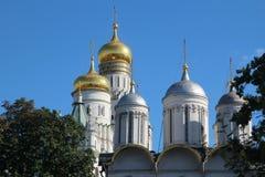 Koepels van Kathedralen in Moskou het Kremlin royalty-vrije stock fotografie