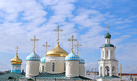Koepels van Nicholas Cathedral in Kazan Royalty-vrije Stock Foto