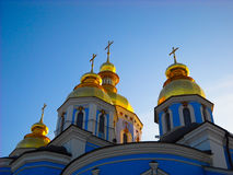 Koepels van St Michael Cathedral, Kiev Royalty-vrije Stock Foto's