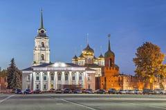 Koepels van Veronderstellingskathedraal in Tula, Rusland Royalty-vrije Stock Afbeeldingen