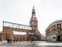 Koepelvierkant met de Koepelkathedraal in Riga, Letland Royalty-vrije Stock Afbeeldingen