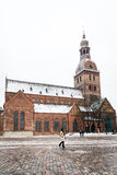 Koepelvierkant met de Koepelkathedraal in Riga, Letland Royalty-vrije Stock Fotografie