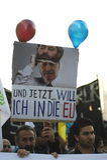 Koerdische demonstratie in solidariteit Kobane in Wenen Royalty-vrije Stock Fotografie