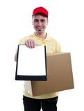 Koerier die pakket levert Royalty-vrije Stock Afbeeldingen