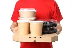 Koerier met verschillende containers De dienst van de voedsellevering stock foto's