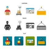 Koerier, schalen, container, pakhuis Logistische, vastgestelde inzamelingspictogrammen in beeldverhaal, de zwarte, vlakke voorraa Royalty-vrije Stock Afbeelding
