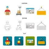 Koerier, schalen, container, pakhuis Logistische, vastgestelde inzamelingspictogrammen in beeldverhaal, overzicht, de vlakke voor Royalty-vrije Stock Foto