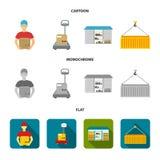 Koerier, schalen, container, pakhuis Logistische, vastgestelde inzamelingspictogrammen in beeldverhaal, vlak, zwart-wit stijl vec Stock Foto