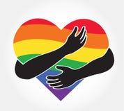 Koester het regenbooghart, liefdelgbt symbool Stock Foto's