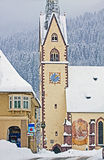 Koetschach-Mauthen Austrian idyllic village on winter time with Royalty Free Stock Photo