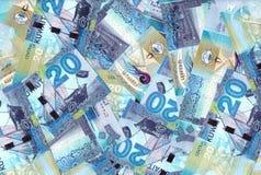 Koeweit de Mengelingsachtergrond van 20 Dinarsbankbiljetten stock foto's