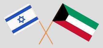 Koeweit en Israël Koeweitse en Israëlische vlaggen Officiële kleuren Correct aandeel Vector vector illustratie