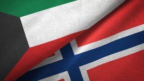 Koeweit en Noorwegen twee vlaggen textieldoek, stoffentextuur stock illustratie
