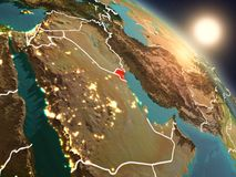 Koeweit van ruimte tijdens zonsopgang Stock Fotografie