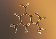 Kofeiny molekuła, ilustracja Kofeina znajduje w kawie, herbata, energia napoje, używa w medycynie royalty ilustracja