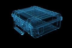 Koffer 3D machte Röntgenstrahl blau Lizenzfreie Stockbilder