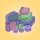 Koffer auf einem farbigen Hintergrund Lizenzfreies Stockfoto