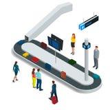 Koffer auf GepäckFörderband in der Gepäckausgabe am Flughafen Isometrische Illustration des flachen Vektors 3d Stockbilder