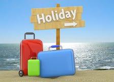 Koffer auf Strand Lizenzfreies Stockfoto