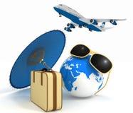 Koffer 3d, Flugzeug, Kugel und Regenschirm Reise- und Ferienkonzept Lizenzfreie Stockfotografie