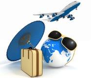 Koffer 3d, Flugzeug, Kugel und Regenschirm Reise- und Ferienkonzept Stockbild